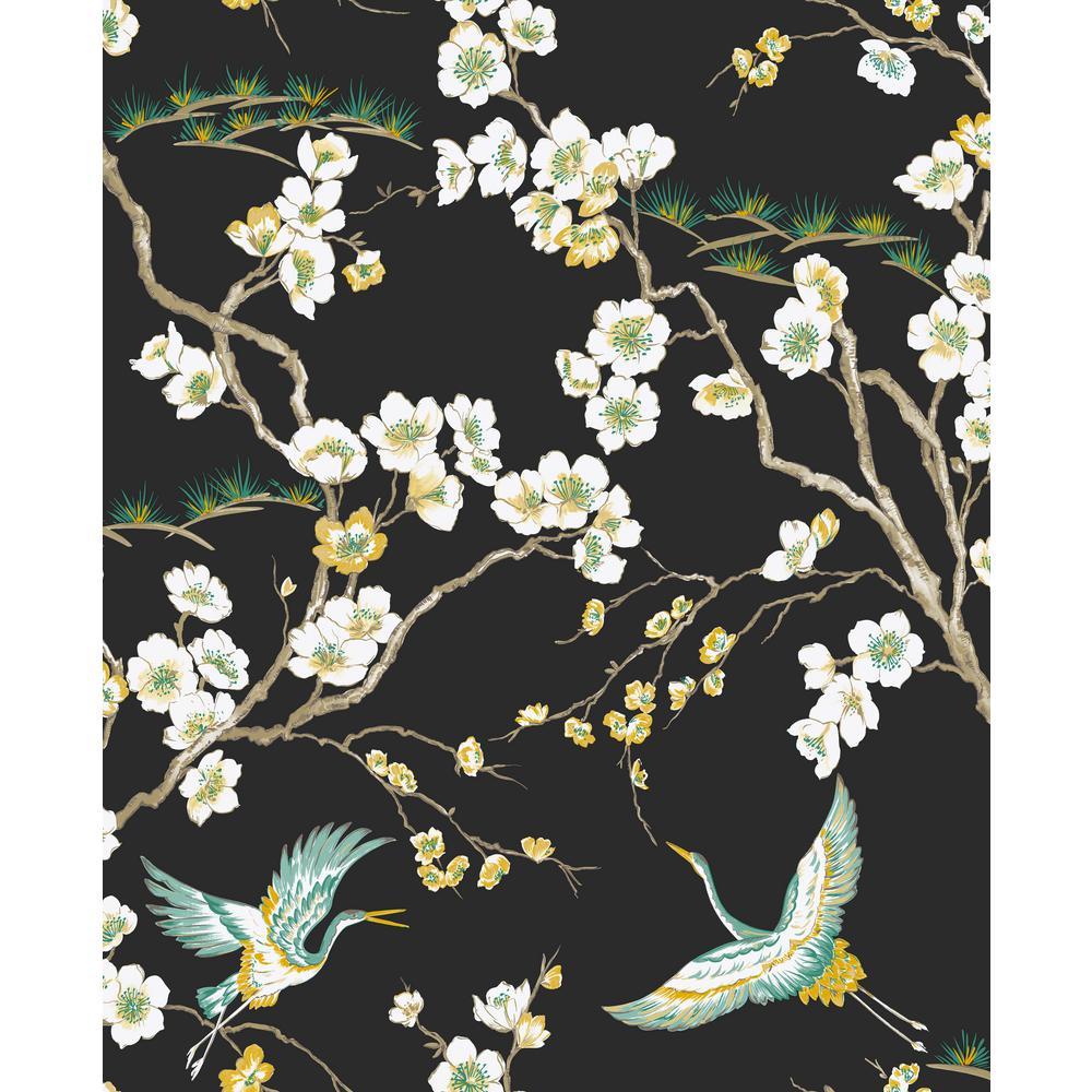 Kabuki Japan Black Removable Wallpaper