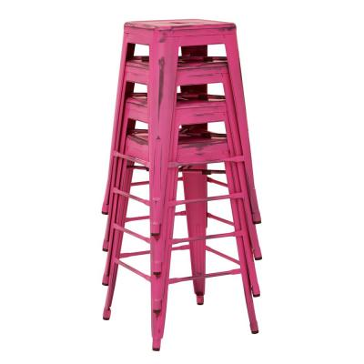 Bristow 26 in. Antique Pink Metal Barstool (4-Pack)
