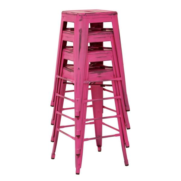Bristow 26 in. Antique Pink Metal Bar Stool (4-Pack)