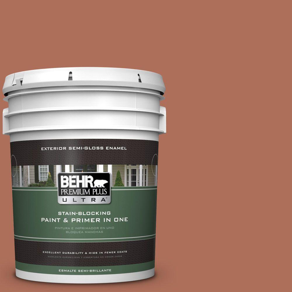 BEHR Premium Plus Ultra 5-gal. #BXC-39 Sunset Orange Semi-Gloss Enamel Exterior Paint