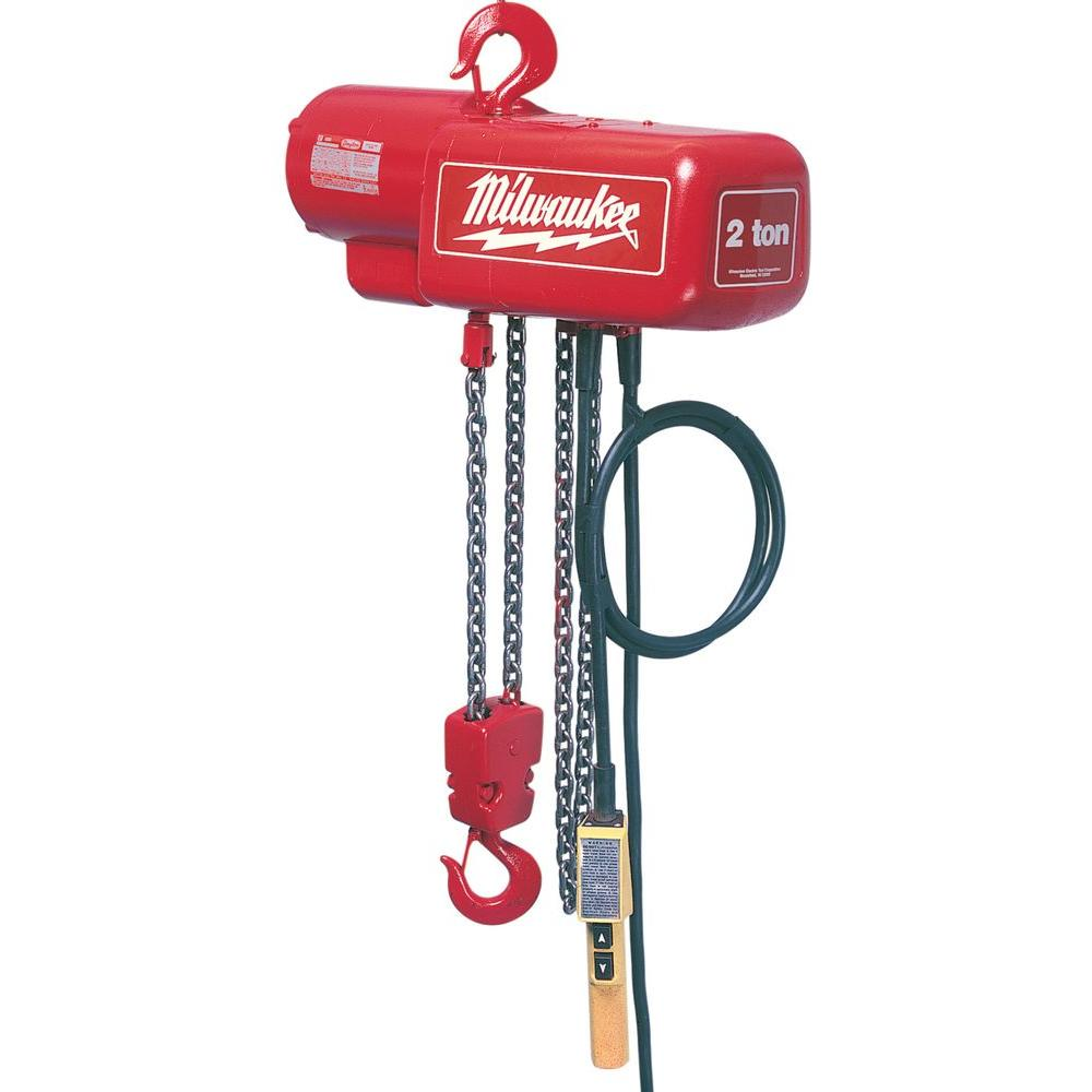 Milwaukee 1 2 ton 20 ft electric chain hoist 9562 the for 1 4 ton chain motor