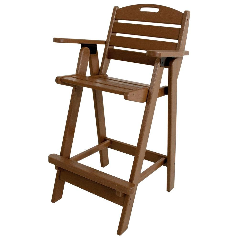 POLYWOOD Nautical Teak Plastic Outdoor Patio Bar Chair-NCB46TE ...
