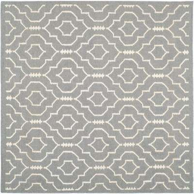 Dhurries Gray/Ivory 6 ft. x 6 ft. Square Area Rug