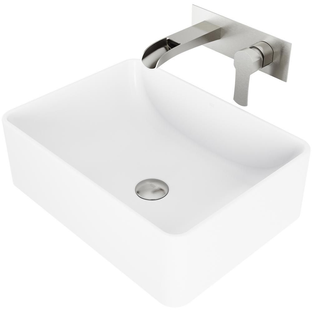 Amaryllis Matte Stone Vessel Bathroom Sink Set with Cornelius Wall Mount Bathroom Faucet in Brushed Nickel