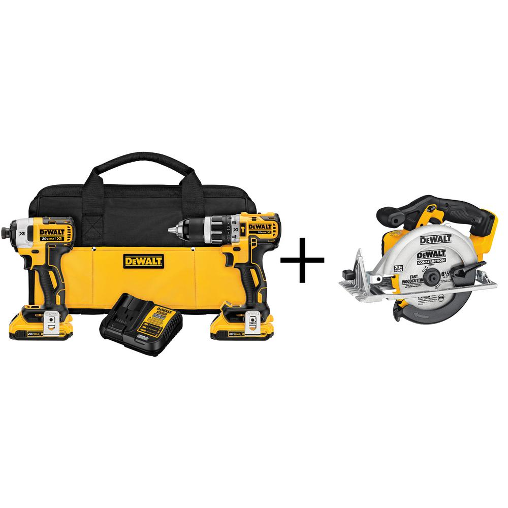20-Volt MAX XR Lithium-Ion Cordless Brushless Combo Kit (2-Tool) with (2)