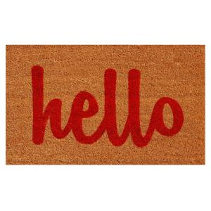 Home & More Hello Natural/Red Script 24 inch x 36 inch Door Mat by Home & More