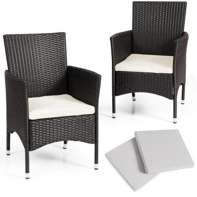 Black 2-Piece Patio Rattan Wicker Outdoor Dining Chairs Set with 2-Set White Cushion Covers