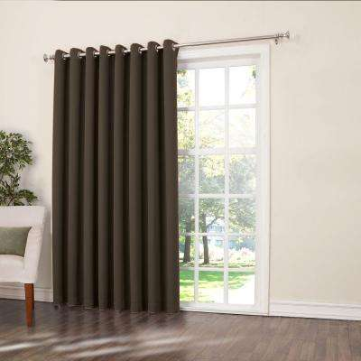 Semi-Opaque Chocolate Gregory Room Darkening Grommet Top Patio Panel, 100 in. W x 84 in. L