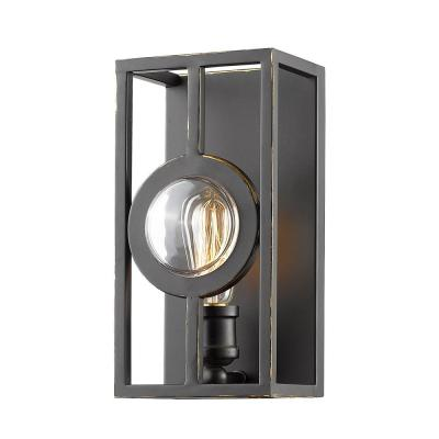 Reeta 1-Light Olde Bronze Wall Sconce with Olde Bronze Steel Shade