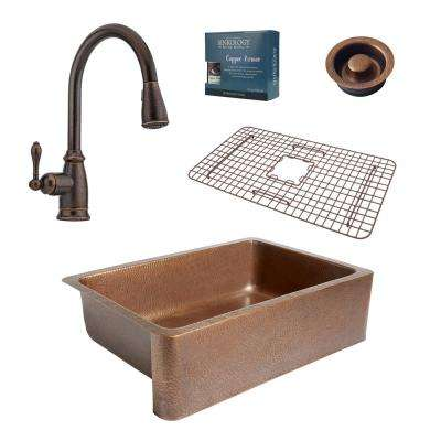 Pfister All-in-One Adams 33 in. Farmhouse Copper Kitchen Sink Combo with Rustic Bronze Faucet and Disposal Drain