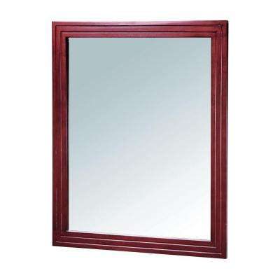 Danbury 39 in. x 33 in. Framed Wall Mirror in Dark Cherry