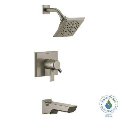 Pivotal 1-Handle Wall-Mount Tub and Shower Trim Kit with H2Okinetic Technology in Stainless (Valve Not Included)