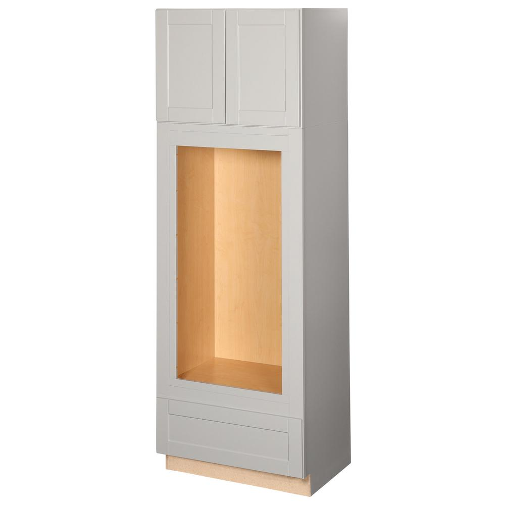 Hampton bay shaker assembled 33 x 96 x 24 in pantry for Assembled kitchen cabinets