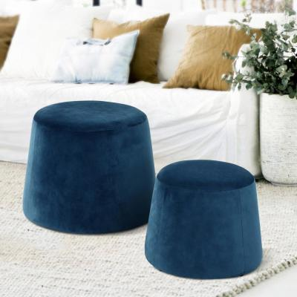 Pouf Footstool Velvet Dark Blue Ottoman Storage Round Floor Cushion Footstool for Living Room Bedroom