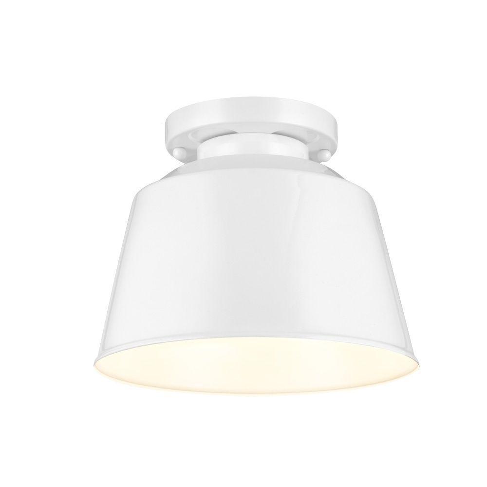 Feiss Freemont 1-Light Hi Gloss White Semi-Flush Mount