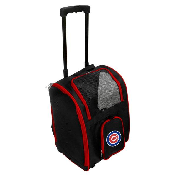 Denco MLB Chicago Cubs Pet Carrier Premium Bag with wheels in Red