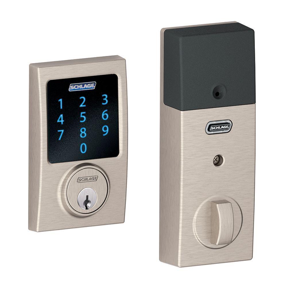 Connect Century Satin Nickel Touchscreen Deadbolt with Alarm
