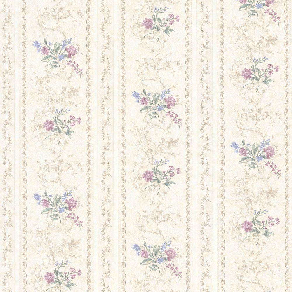 Maury Purple Floral Bouquet Stripe Wallpaper