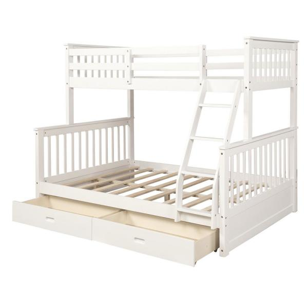 Boyel Living White With Ladders And 2 Storage Drawers Twin Over Full Bunk Bed Ly Lp000065kaa The Home Depot
