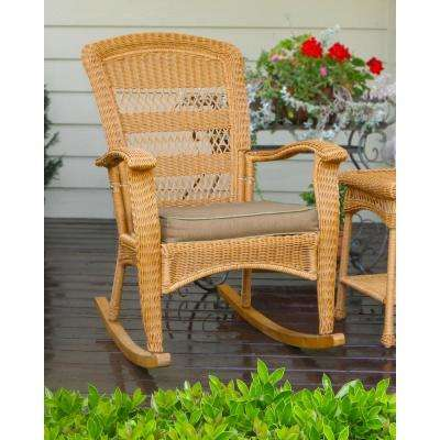 Portside Plantation Outdoor Rocking Chair Amber Wicker with Tan Cushion