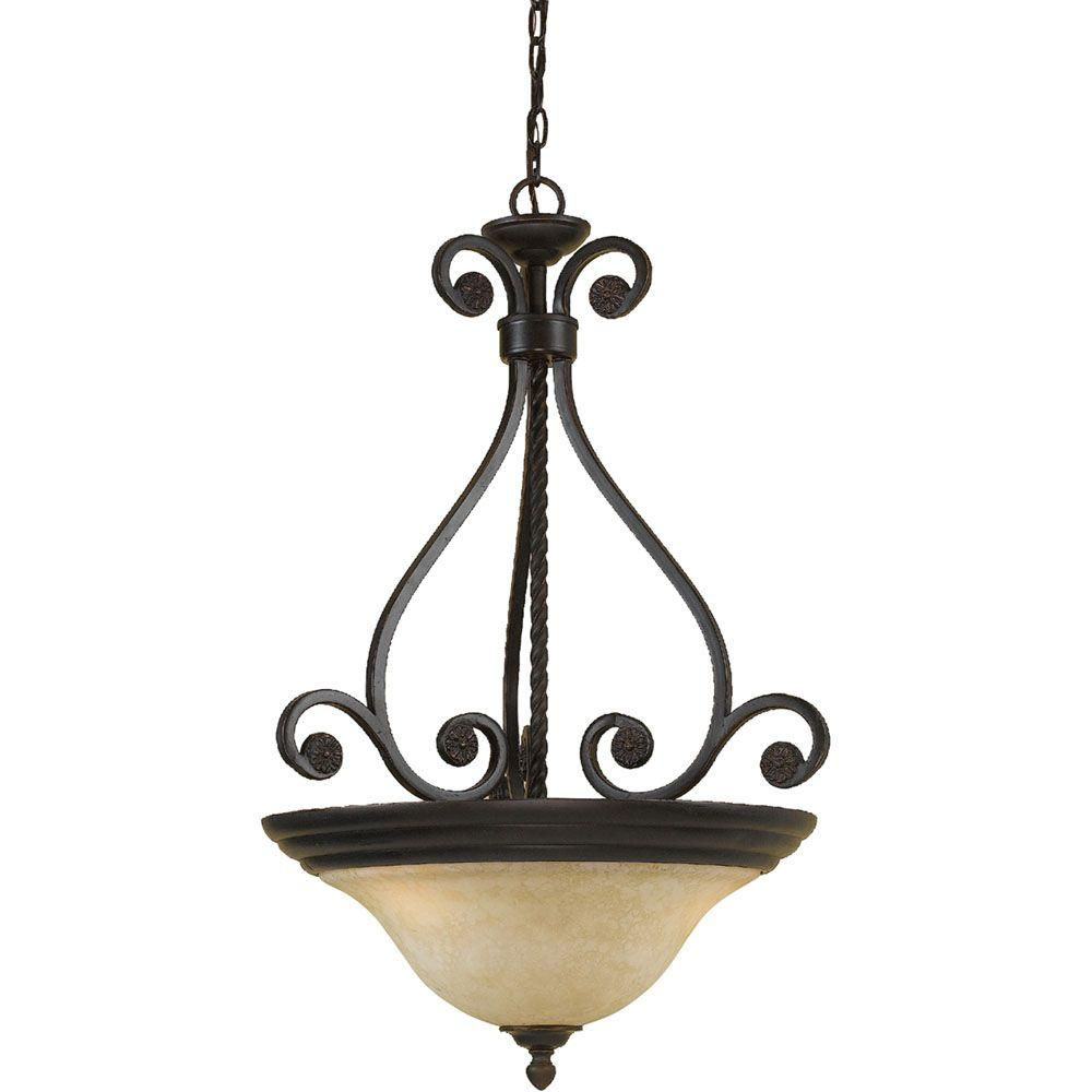 Harmony 3-Light Oil Rubbed Bronze Pendant with Frosted Alabaster Glass Shade