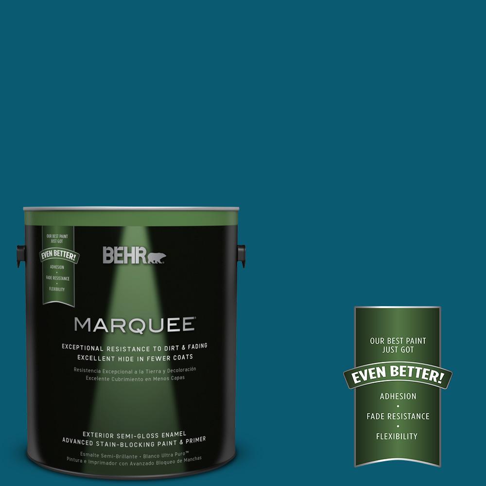 1-gal. #540D-7 Deep Blue Sea Semi-Gloss Enamel Exterior Paint