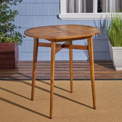 Stamford 39.75 in. Teak Brown Wood Bar Height Outdoor Patio Table