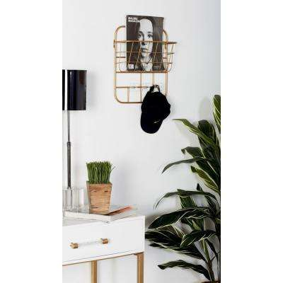Gold Iron Wall-Mounted Basket Rack with Hooks