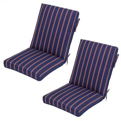 Midnight Ruby Stripe Outdoor Dining Chair Cushion (2 Pack)