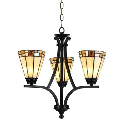 Sundance 60-Watt Tiffany Bronze Integrated LED Chandelier with 3-Hand Rolled Art Glass Shades