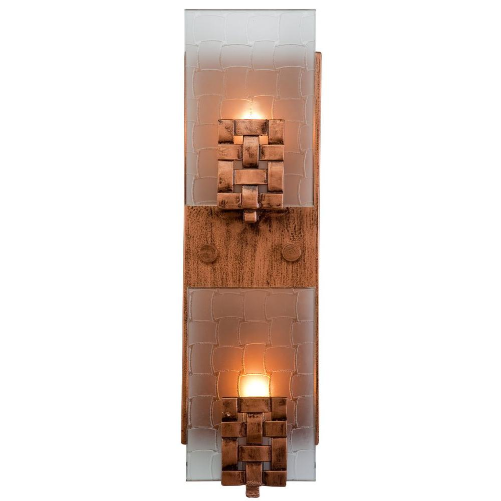Varaluz Dreamweaver 2 Light Blackened Copper Vertical Sconce With Frosted Glass