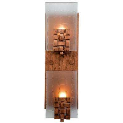 Dreamweaver 2-Light Blackened Copper Vertical Sconce with Frosted Glass