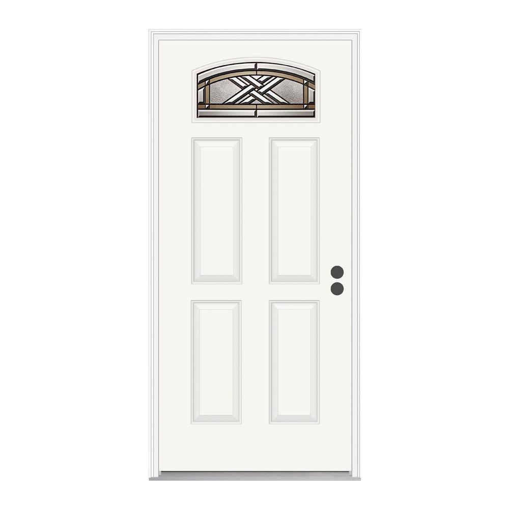 JELD-WEN 36 in.x 80 in. Ascot Camber Top Primed Premium Steel Prehung Front Door with Brickmould
