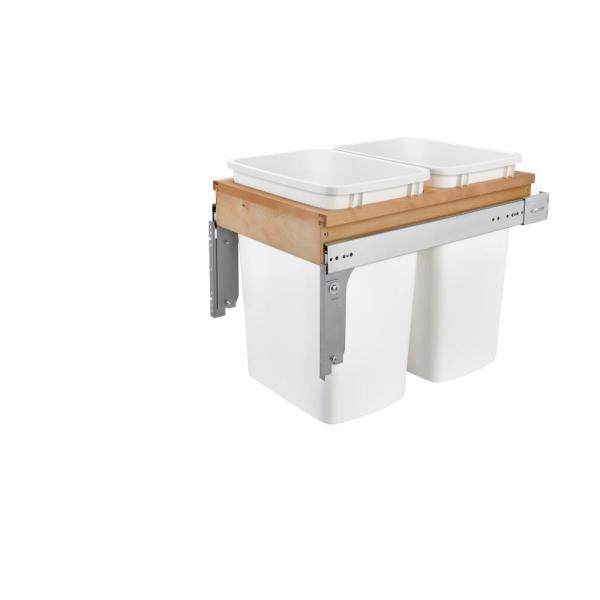 Rev A Shelf Double 35 Qt Pullout Top Mount Maple And White Container For 1 3 4 In Face Frame Cabinet 4wctm 18dm2 175 The Home Depot