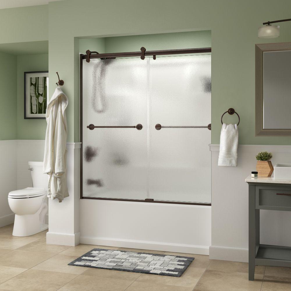 Silverton 60 in. x 58-3/4 in. Semi-Frameless Contemporary Sliding Bathtub Door in Bronze with Rain Glass