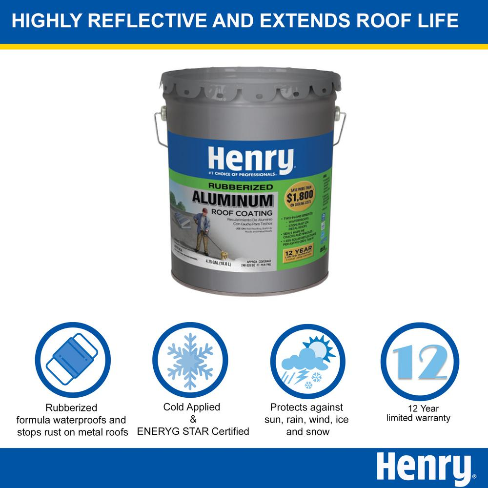 Henry 4 75 Gal Rubberized Aluminum Reflective Roof Coating He869079 The Home Depot