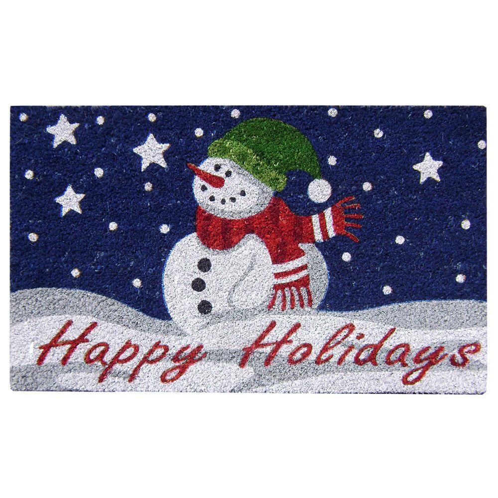 Nedia Home Happy Holidays 18 in. x 30 in. SuperScraper Vinyl/Coir Door Mat