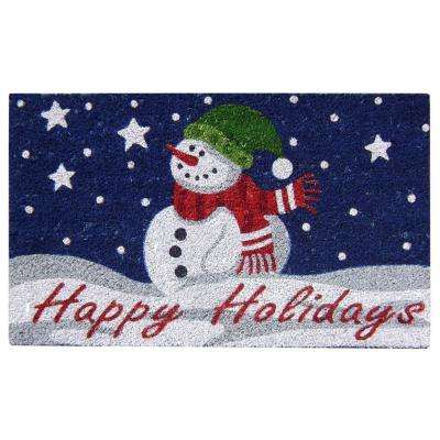 Happy Holidays 18 in. x 30 in. SuperScraper Vinyl/Coir Door Mat