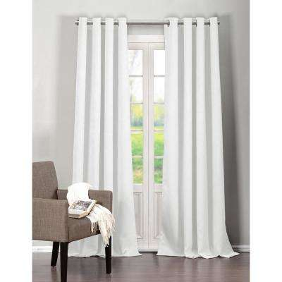 Solid White Polyester Room Darkening Pole Top Window Curtain 52 in. W x 112 in. L (2-Pack)