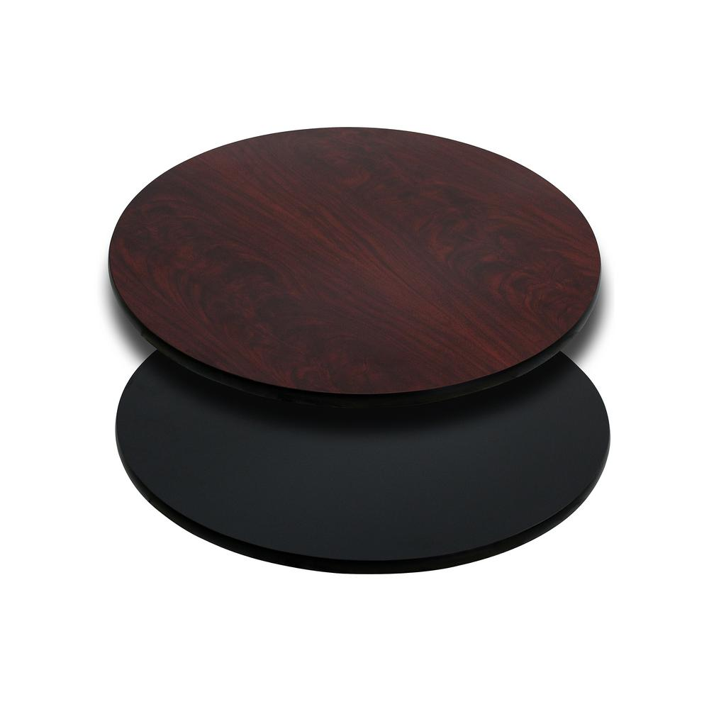 Round Table Top With Black Or Mahogany Reversible Laminate Top