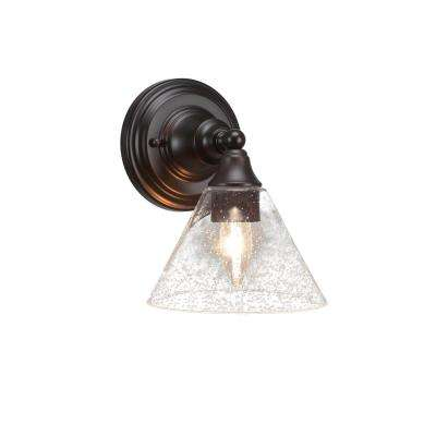 7.75 in. Espresso Sconce with 7 in. Clear Bubble Glass