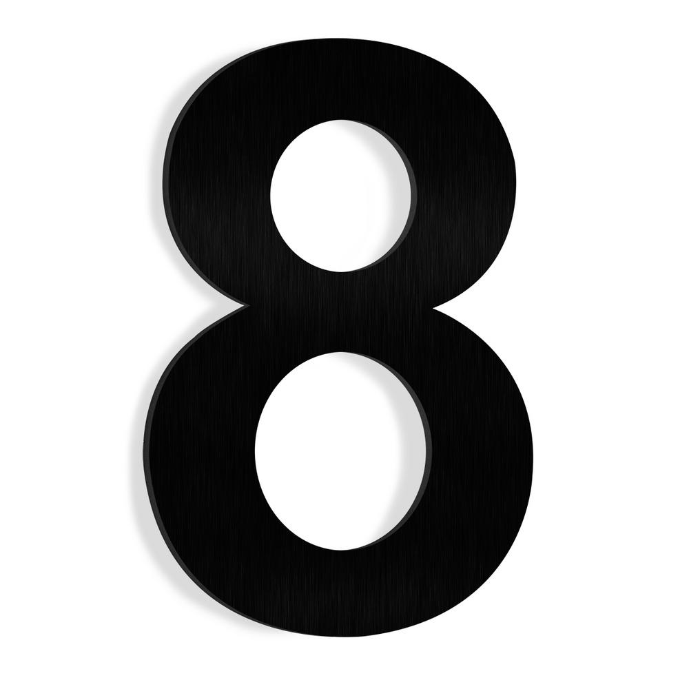 Barton 6 In  Black Stainless Steel Floating House Number 8