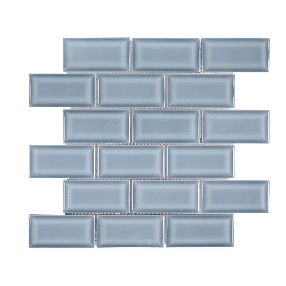 Jeffrey Court Beverly Blue Bevel 12.375 in. x 12 in. x 8 mm Ceramic ...