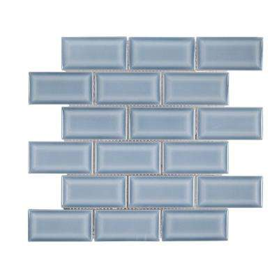 Beverly Blue Bevel 12.375 in. x 12 in. x 8 mm Ceramic Mosaic Tile
