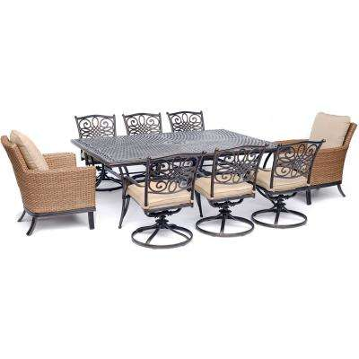 Traditions 9-Piece Aluminum Outdoor Dining Set with 2-Woven Arm Chairs 6-Swivel Rockers 60 in. x 84 in. Cast-Top Table