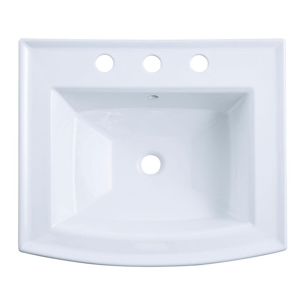 Archer 20-7/16 in. Vitreous China Pedestal Sink Basin in White with