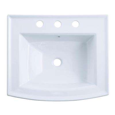 Archer 20-7/16 in. Vitreous China Pedestal Sink Basin in White with Overflow Drain