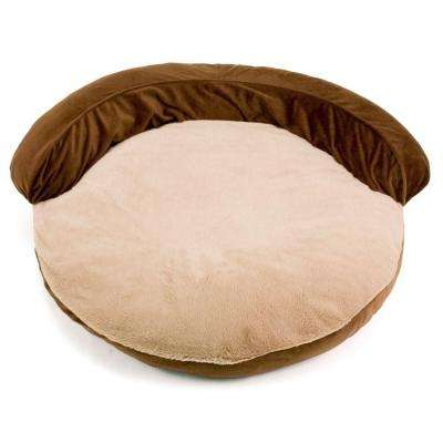 34 in. Brown Gusseted Bolster Pet Bed