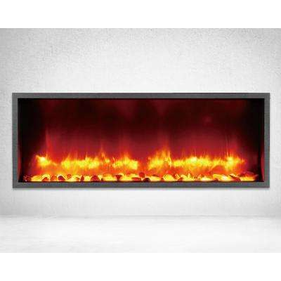 35 in. Built-in LED Electric Fireplace in Black Matt