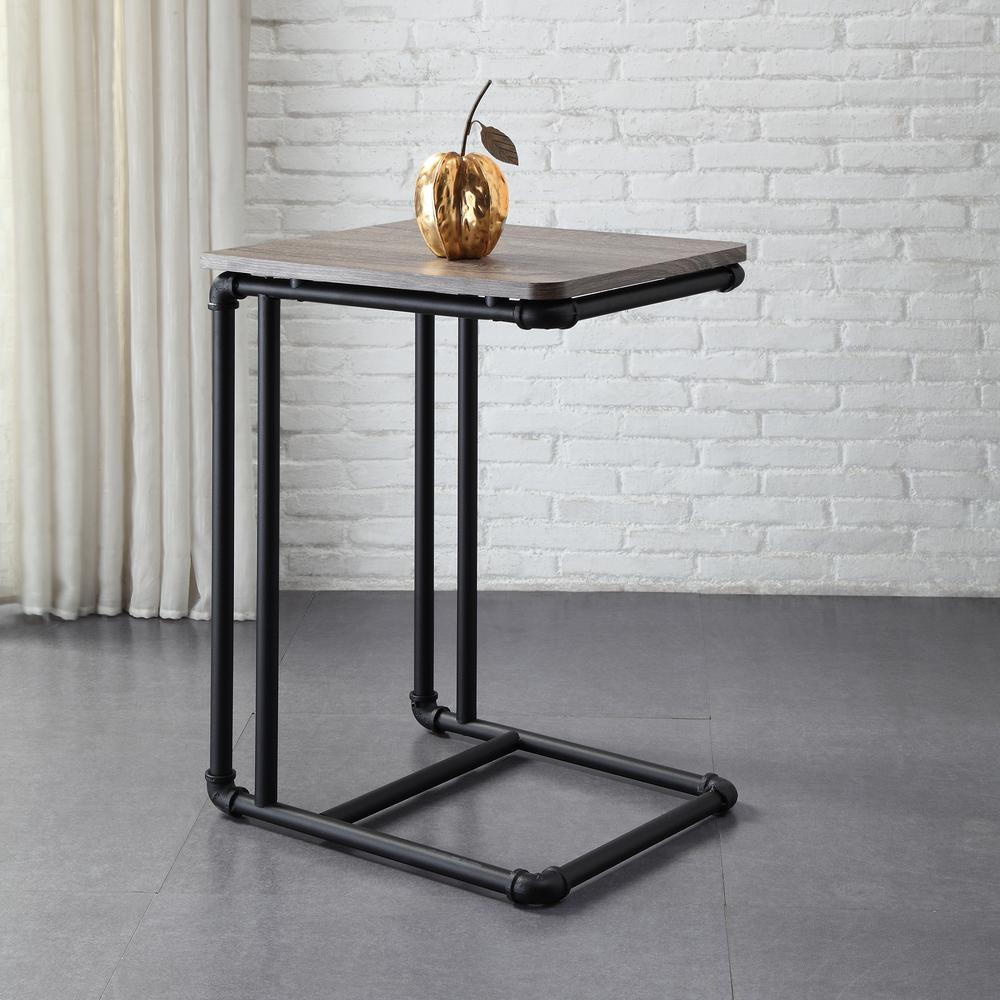 Beau Neu Home Manchester Industrial Gray And Black Industrial Pipe Side Table